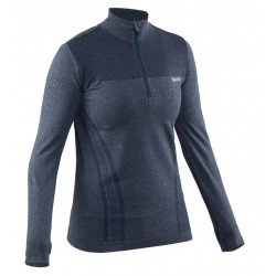 Run Seamless Halfzip Women Steel Blue