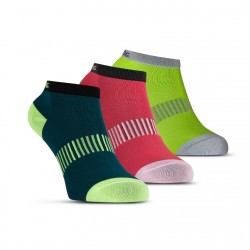 Performance Ankle Sock 3p Teal/Yellow/Red